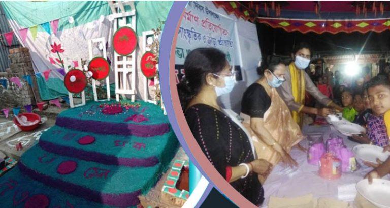 বরিশালে ৩০ শহীদ মিনার বানিয়ে চরের শিশুদের ভাষা দিবস উদযাপন